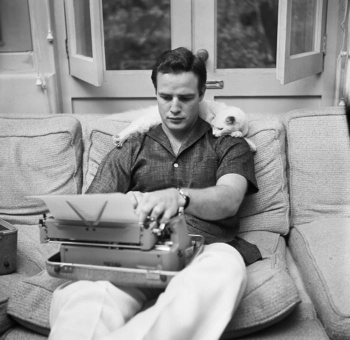 MUZA. Marlon Brando alaturi de pisica sa, cea care il ajuta sa-si gaseasca mai usor inspiratia