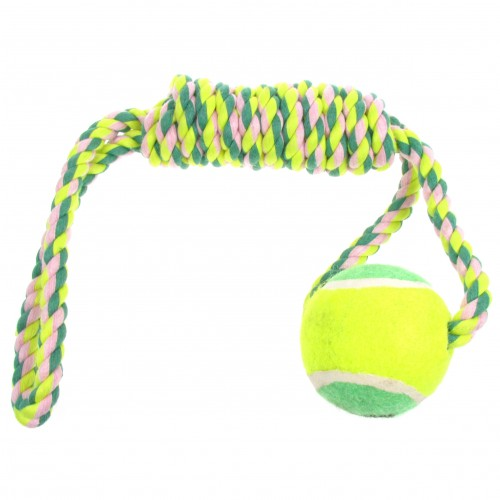 Interactive Rope _ Tennis Ball Chew Dog Toy (Green)
