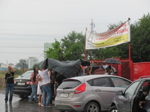 Protest in ploaie la biobaza Constanta