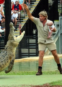 Steve Irwin Holding baby Bob near crocodiles back in 2004
