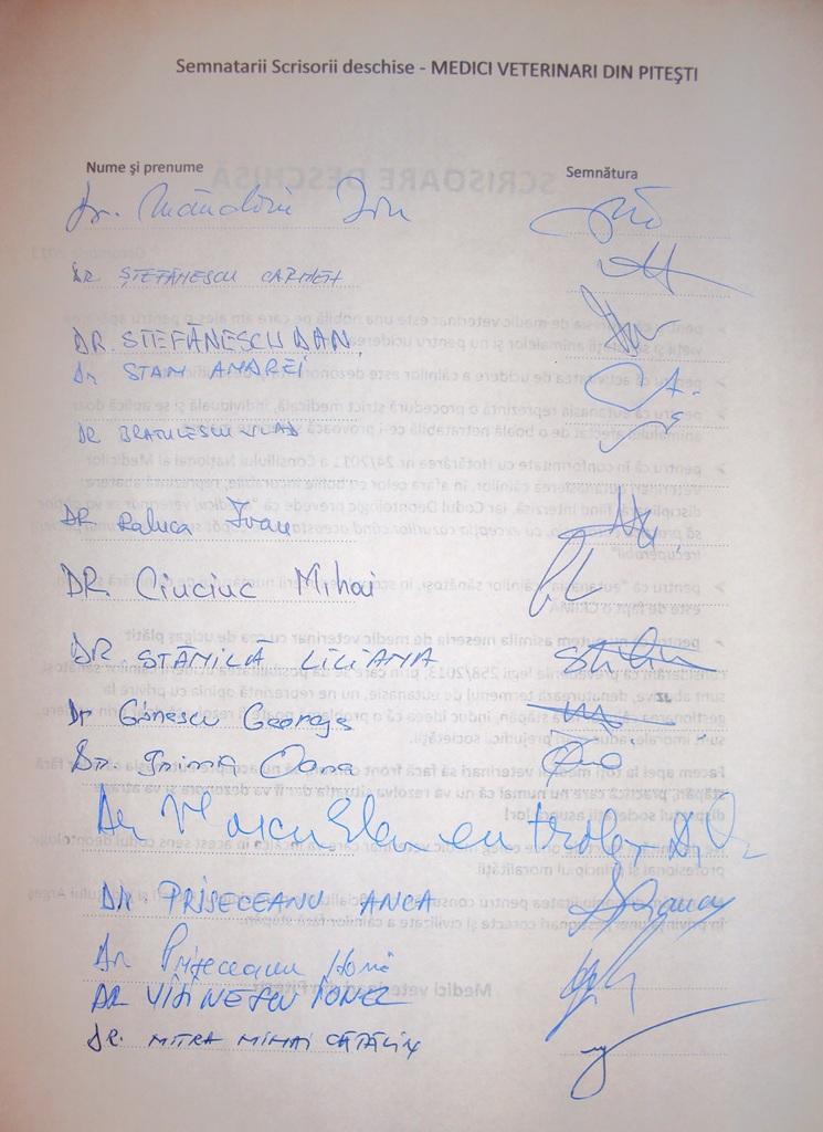 Scrisoare deschisa medici veterinari Pitesti (semnaturi)_pag.1