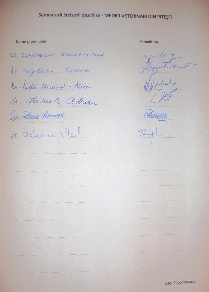 Scrisoare deschisa medici veterinari Pitesti (semnaturi)_pag.2