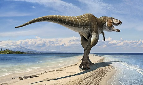 T rex ancestor Lythronax argestes on the beach