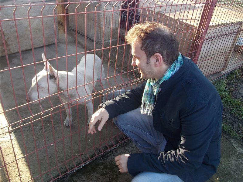 Mihai Traistariu si cainele adoptat Mihaita