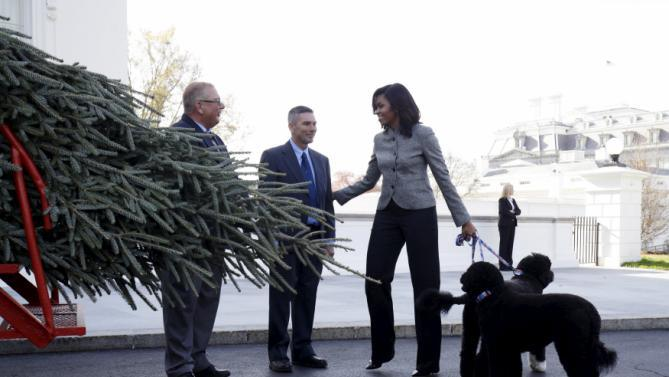 First Lady Obama walks with her dogs Bo and Sunny as she welcomes the Official White House Christmas Tree to the White House