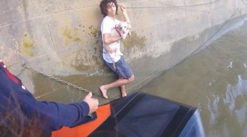 Un tânăr a sărit în Tamisa ca să salveze un cățel din ghearele morții. Uite ce s-a întâmplat cu ei I VIDEO