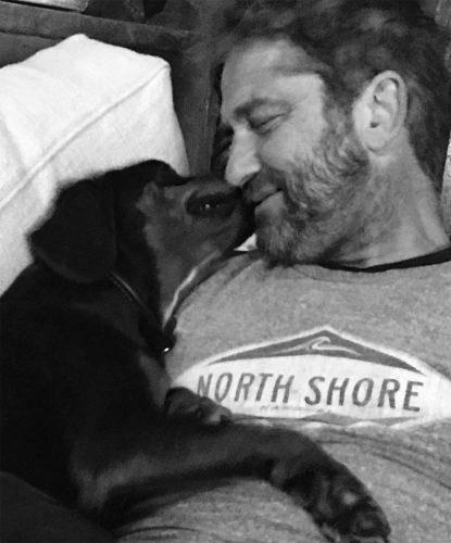 Gerard Butler's Heart Was 'Stolen' in Bulgaria by His New Pup  https://www.instagram.com/p/Bb0AGZalnyB/?taken-by=gerardbutler  Credit: Gerard Butler/Instagram